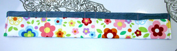 denim and bright flowers purse organizer