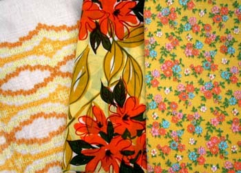 yellow and orange fabrics