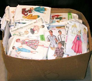 box of vintage patterns