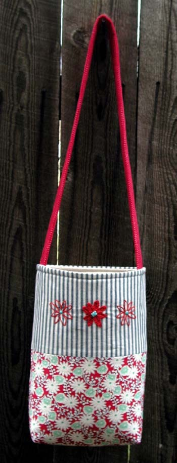 red blue market tote
