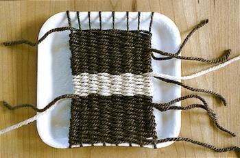 beginning weaving on cardboard loom for kids
