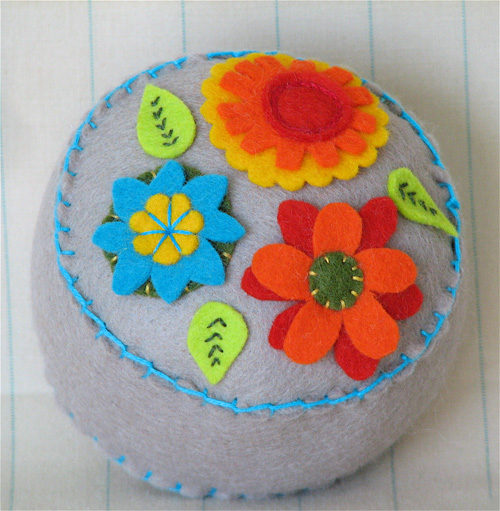 Pincushion: Garden Party Tan & Turquoise