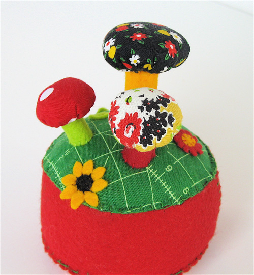 Pincushion:  Mushroom Forest Red