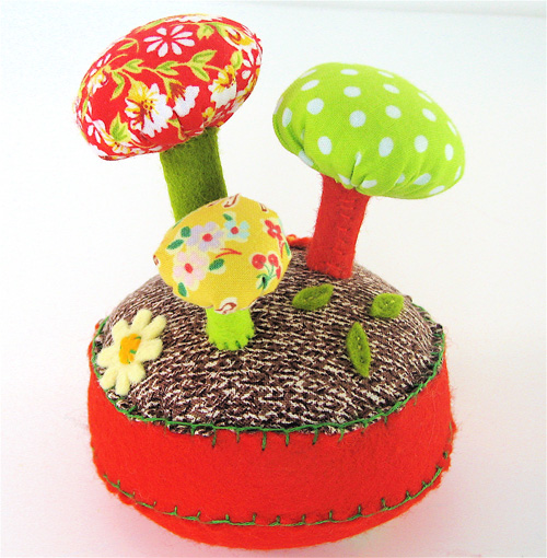 Pincushion:  Mushroom Forest Orange