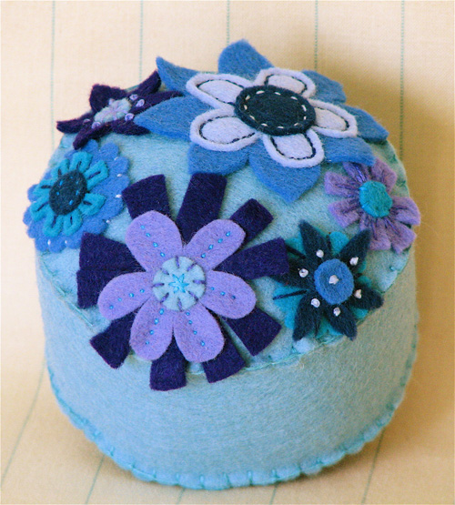 Pincushion: Groovy Blue Garden #1