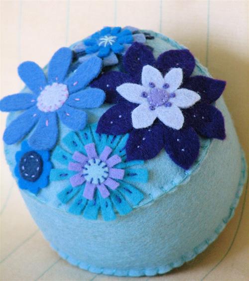 Pincushion: Groovy Blue Garden #2
