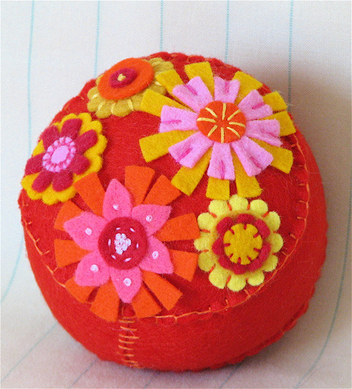 Pincushion: Groovy Orange Garden #2