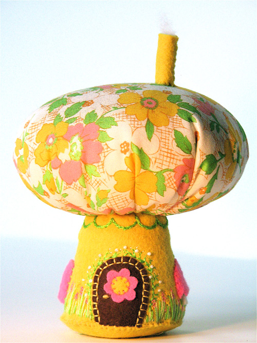 Mushroom House:  Spring (Golden Yellow/Pink)