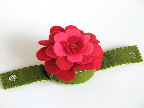 Wrist Corsage Pincushion:  Pinks