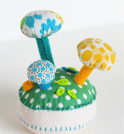 Pincushion:  Mushroom Forest Cream