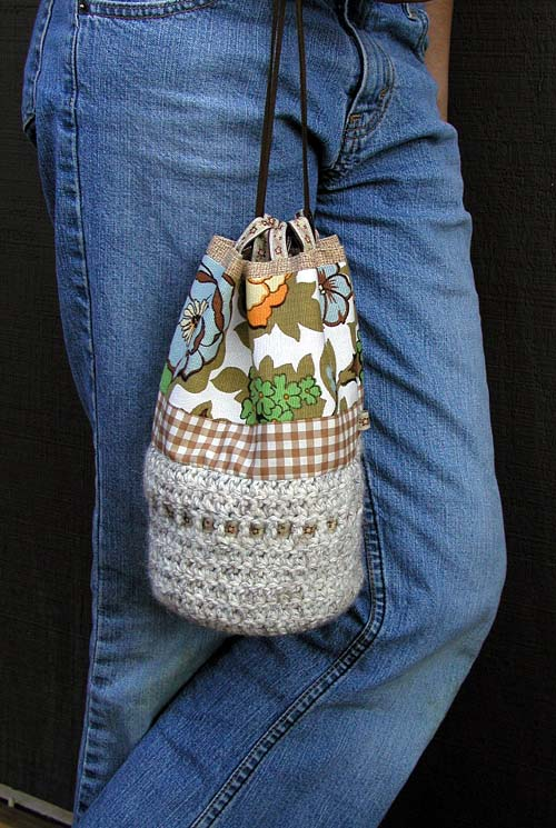 Fabric and Crochet Drawstring Bag