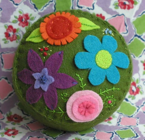 Garden Party Pincushion:  Olive Green