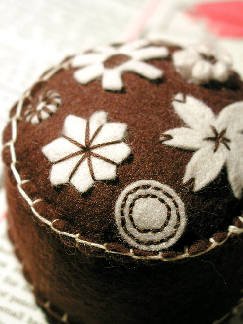 Pincushion: Folkloric (chocolate brown)