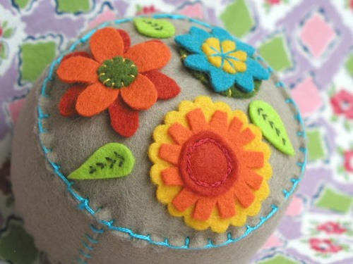 Garden Party Pincushion:  Tan
