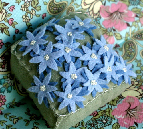 Pincushion: Blue Scattered Flowers