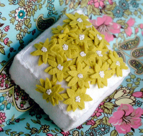 Pincushion: Yellow Scattered Flowers