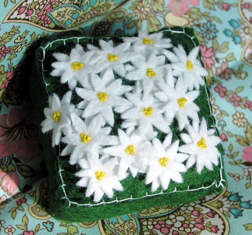 Pincushion: White Scattered Flowers