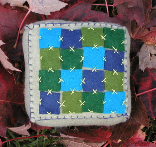 Pincushion: Quilt Blue and Green