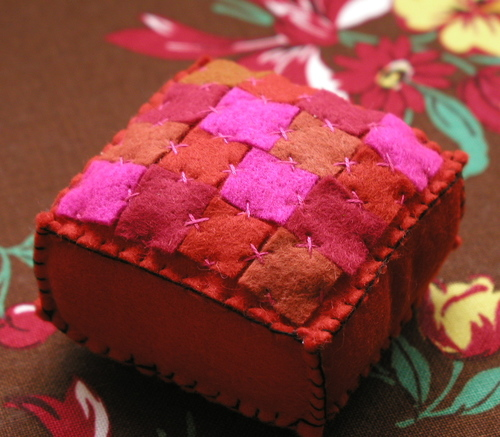 Pincushion: Quilt Dark Orange and Magenta