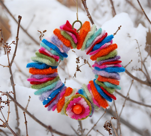 mini wool wreath - �ok ��k Kap� S�sleri