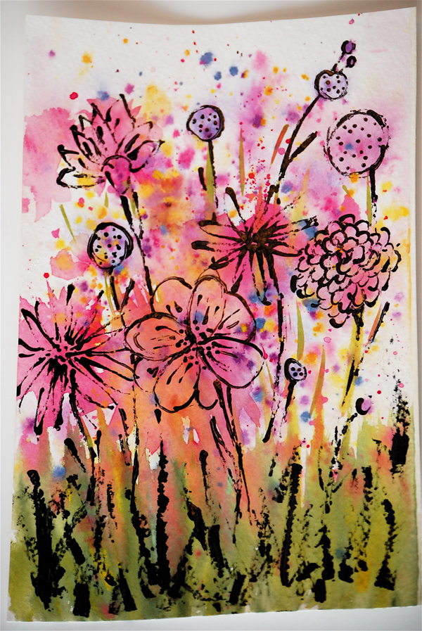 Easy watercolor flowers for Abstract watercolour flowers