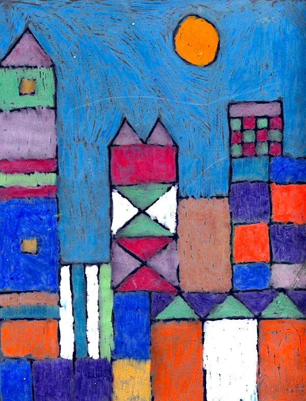 Oil pastel abstract landscape things to make and do for Oil painting for kids